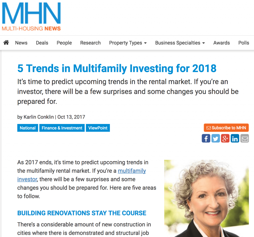 multifamily real estate invest trends 2018